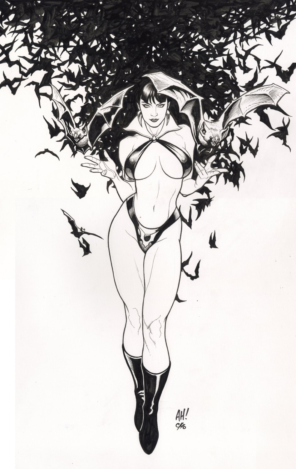 Frank Cho Big Wow 2015 Vampirella Yearbook Illo.