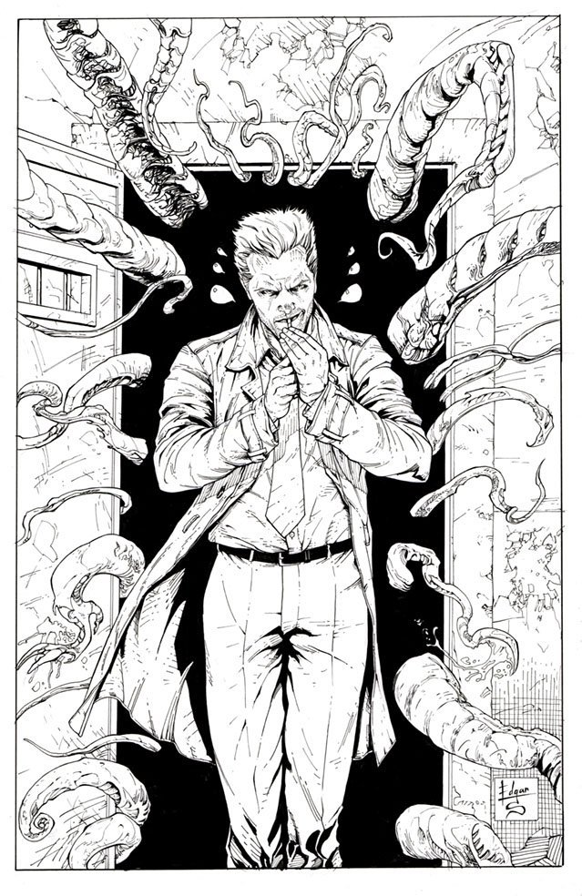 Constantine Pencil & Ink Commission with Full Background