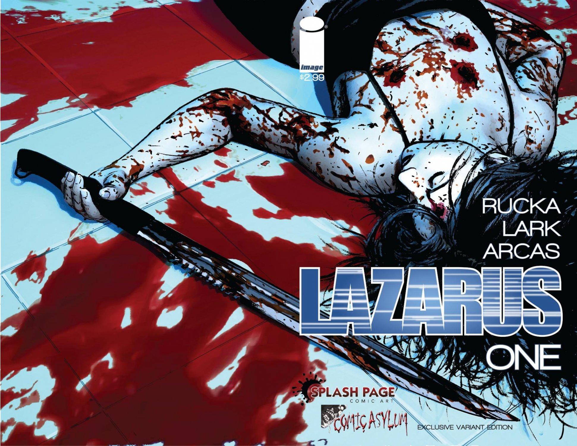 Lazarus Splash Page Comic Art & Comic Asylum Retailer Variant Comic Book