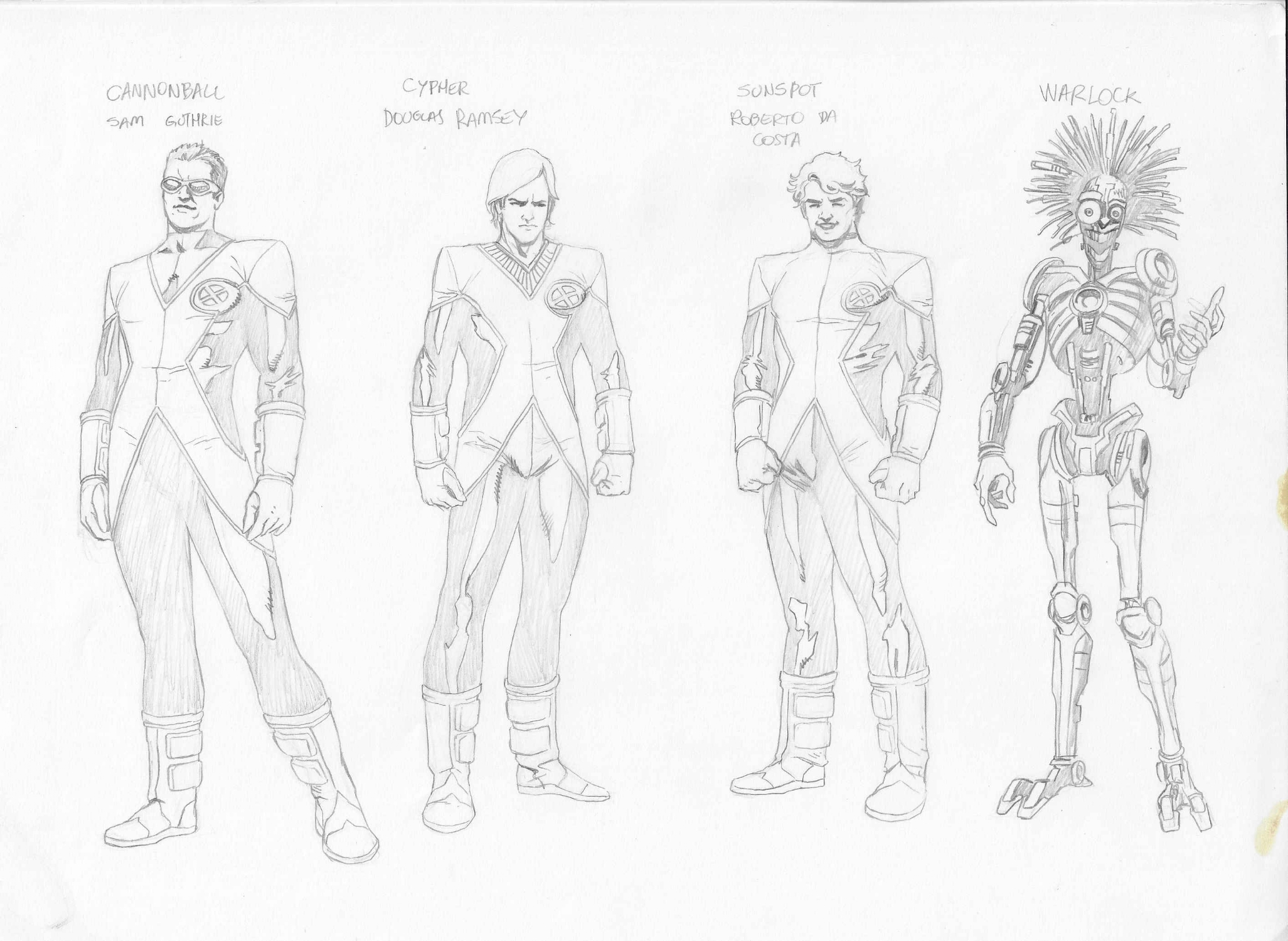 New Mutants Character Designs - Cannonball, Cypher, Sunspot and Warlock