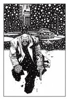 Marv from Sin City with Background 11 x 17 Commission Example Comic Art